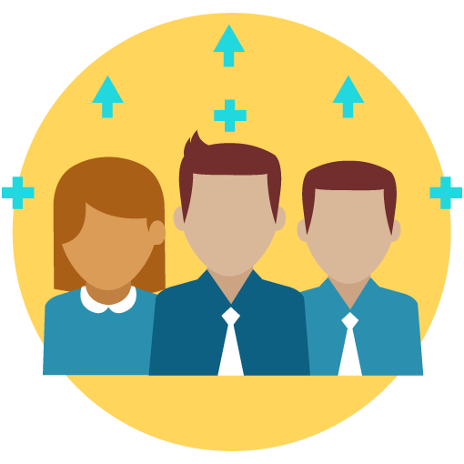 Illustration of three people with upward arrows and the + sign.