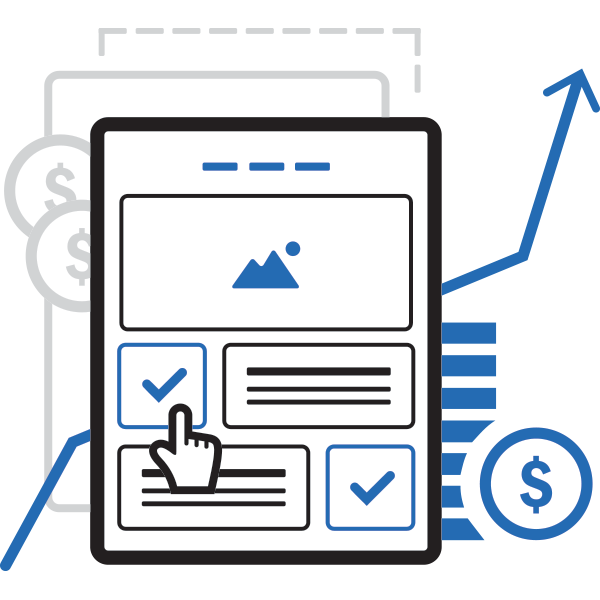 Illustration of web page with business elements.