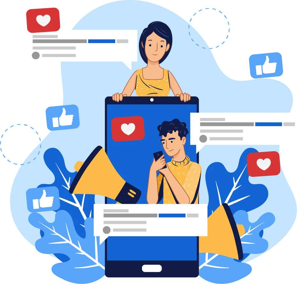 Illustration of people using the social media apps
